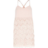 Light pink Chelsea Girl fringed strappy dress