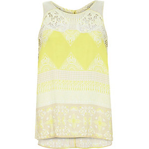 Yellow floral print embroidered neck vest