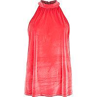 Pink Chelsea Girl velvet high neck top