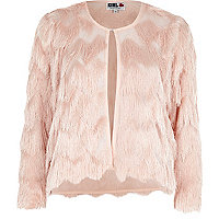 Light pink Chelsea Girl fringed jacket