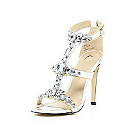White gem embellished barely there heels