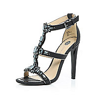 Black gem embellished barely there heels