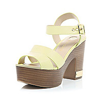 Yellow wood effect heel platform sandals