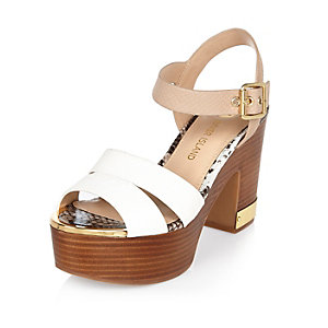 Pink wood effect heel platform sandals