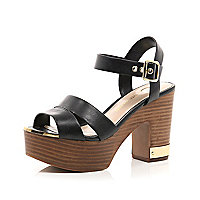 Black wood effect heel platform sandals