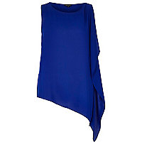 Blue asymmetrical loose top