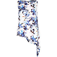 Blue floral print asymmetrical loose top