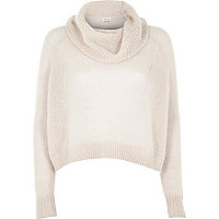 Grey mohair cowl neck knitted jumper