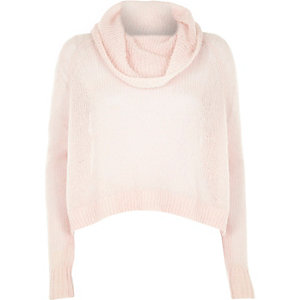 Pink mohair cowl neck knitted jumper