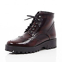 Dark red leather chunky brogue boots