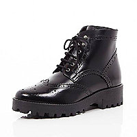 Black leather chunky brogue boots