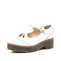 White patent chunky cut out strap geek shoes