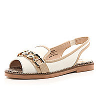 White chain front peep toe sling back flats