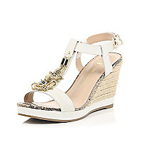 White embellished front raffia wedges
