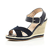 Navy cross strap raffia heel wedge