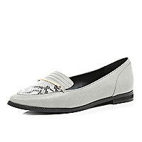 Grey snake print point toe loafers