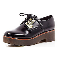 Black chunky metal plate shoes