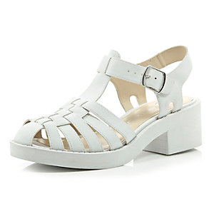 White chunky woven strap shoes