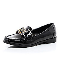 Black patent tiger front loafers