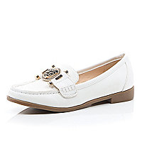 White tiger front loafers