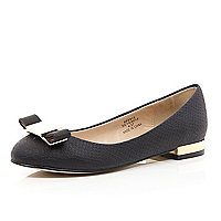 Black bow front round toe ballet pumps
