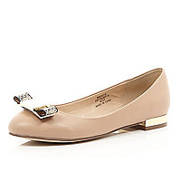 Pink bow front round toe ballet pumps