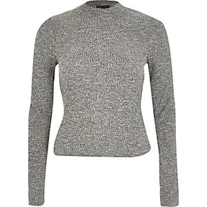 Grey ribbed long sleeve high neck top
