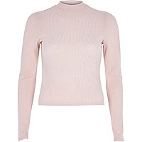 Light pink ribbed long sleeve high neck top