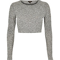 Grey marl long sleeve crop top