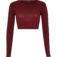 Dark red long sleeve crop top