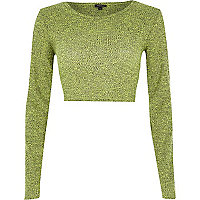Lime marl long sleeve crop top