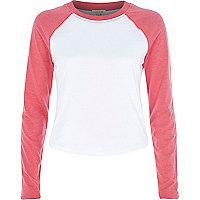 Pink contrast sleeve raglan t-shirt