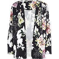 Pink floral print crepe jacket