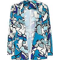Blue floral print crepe jacket