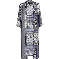 Black scarf print long kimono