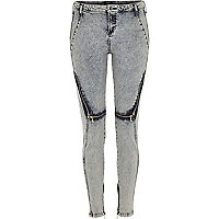 Blue Design Forum acid wash zip Amelie jeans