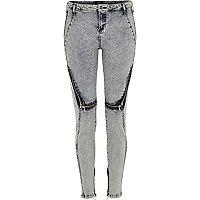 Blue Design Forum acid wash zip Amelie jeans