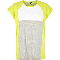 Lime colour block t-shirt