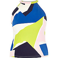 Lime graphic print high neck top
