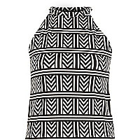 Black geometric print high neck top