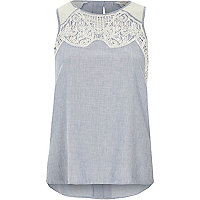 Blue chambray embroidered neck vest