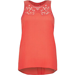 Coral embroidered neck vest