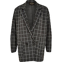 Grey check print oversized jersey jacket