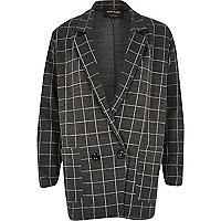 Grey check print oversized jersey jacket
