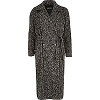 Grey herringbone tweed long coat