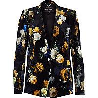 Black velvet floral print blazer