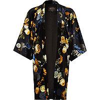 Black floral print velvet kimono