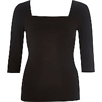 Black jersey square neck top