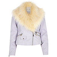 Lilac faux fur collar biker jacket