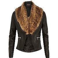 Black leather-look faur fur biker jacket